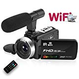 Camcorder Digital Video Camera, WiFi Vlog Camera Camcorder with Microphone IR Night Vision Full HD 1080P 30FPS 3\\ LCD Touch Screen Vlogging Camera for YouTube with Remote Control