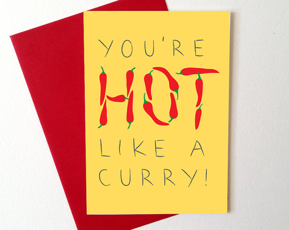 You're HOT like a curry Valentines card by Hello DODO
