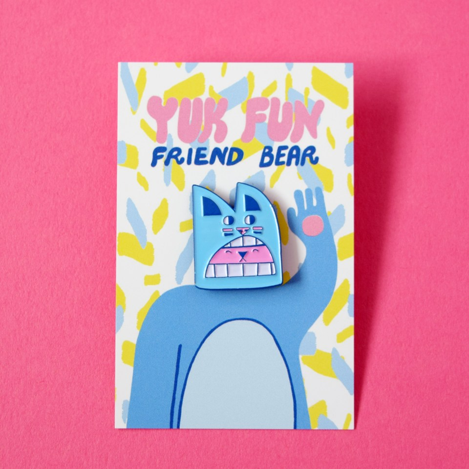 Cute weird bear enamel pin by YUK FUN