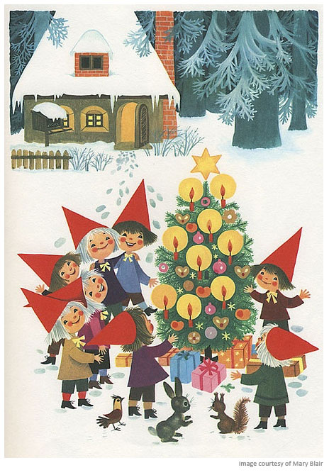 Christmas tree illustration by Mary Blair