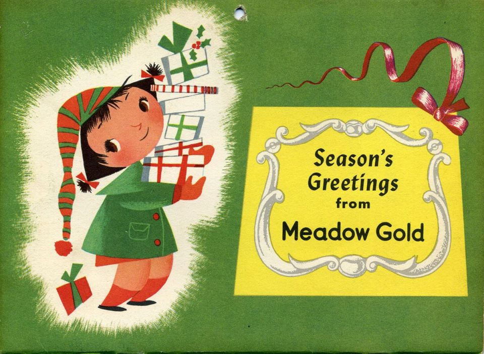 Mary Blair Christmas card for Meadow Gold