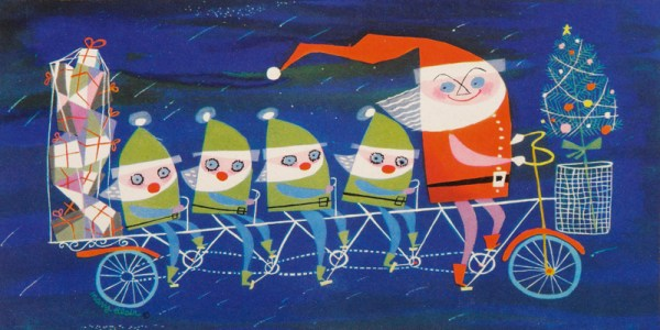 Santa and his elves by Mary Blair