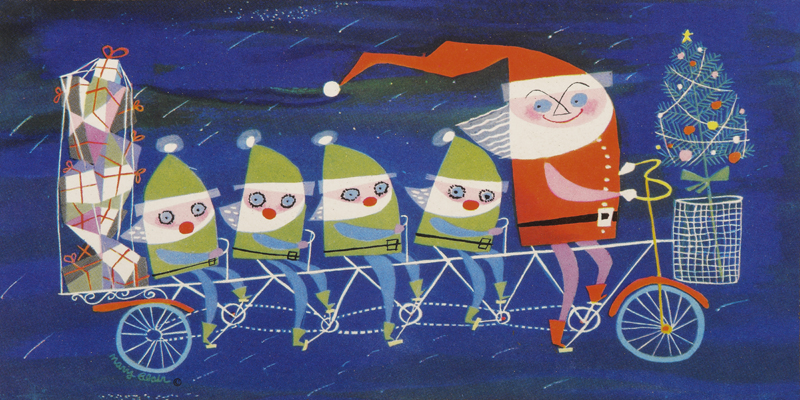 Santa and his elves by Mary Blair
