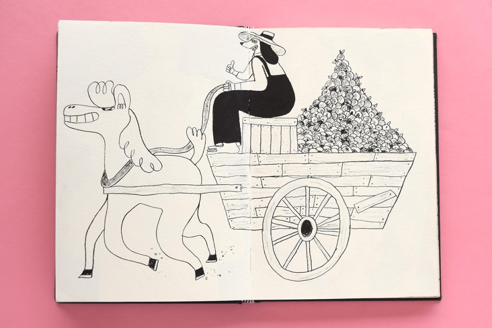 Drawing of a farmer on a horse and cart full of apples