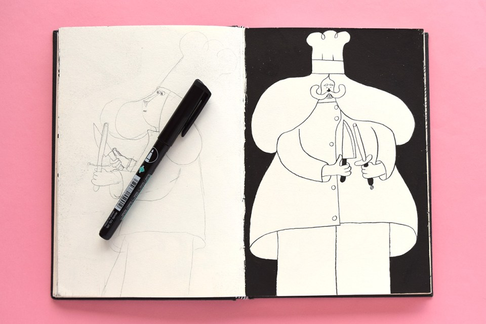 Drawing of a chef sharpening their knives