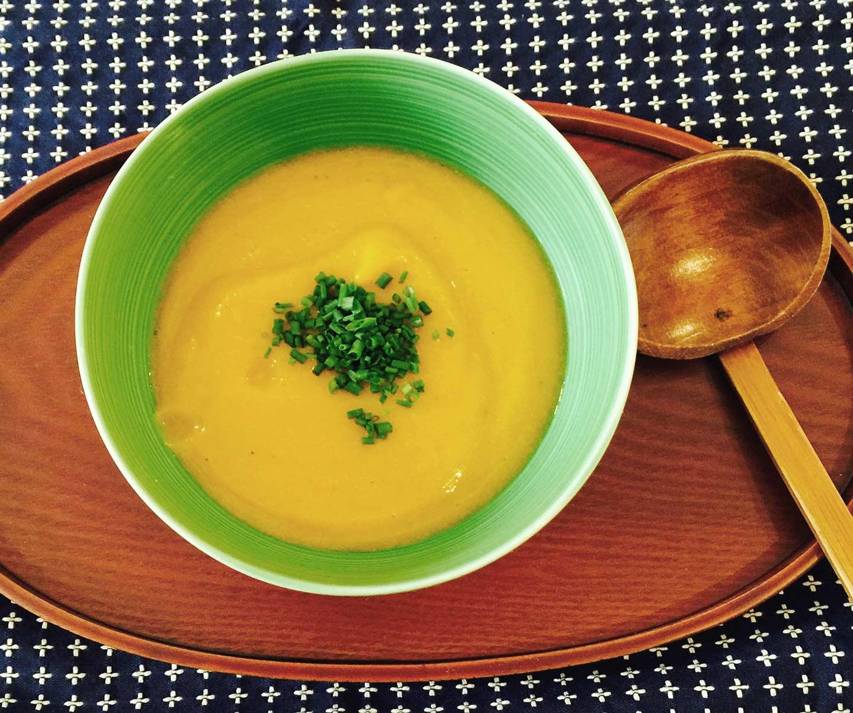 photo of the tasty japanese kabocha and miso soup