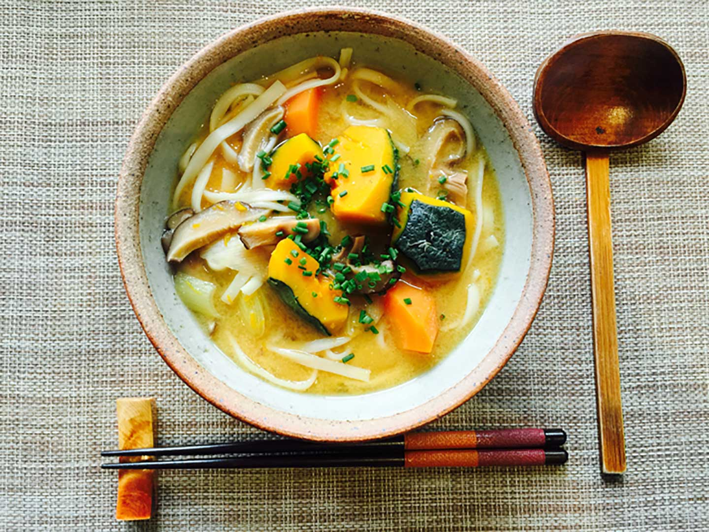 delicious kabocha pumpkin and hoto noodle soup