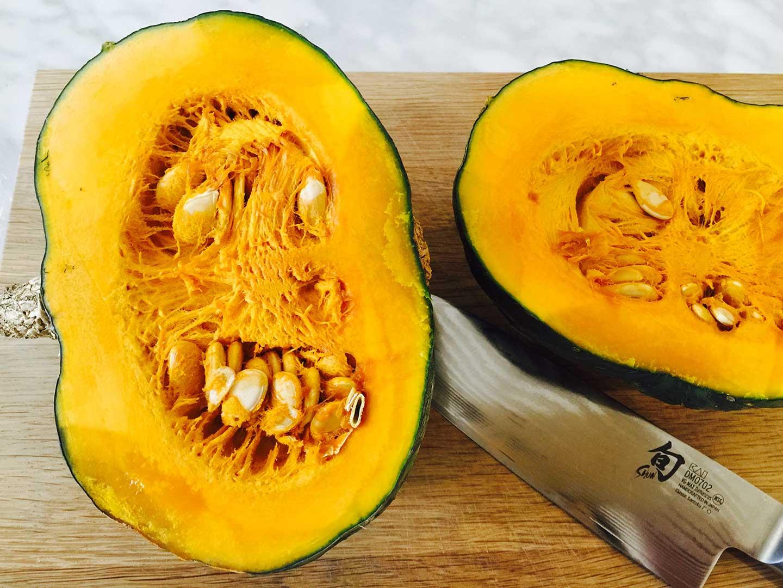 cutting japanese kabocha pumpkin