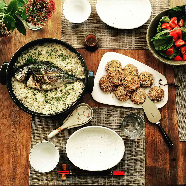 sea bream rice with sweet potato korokke
