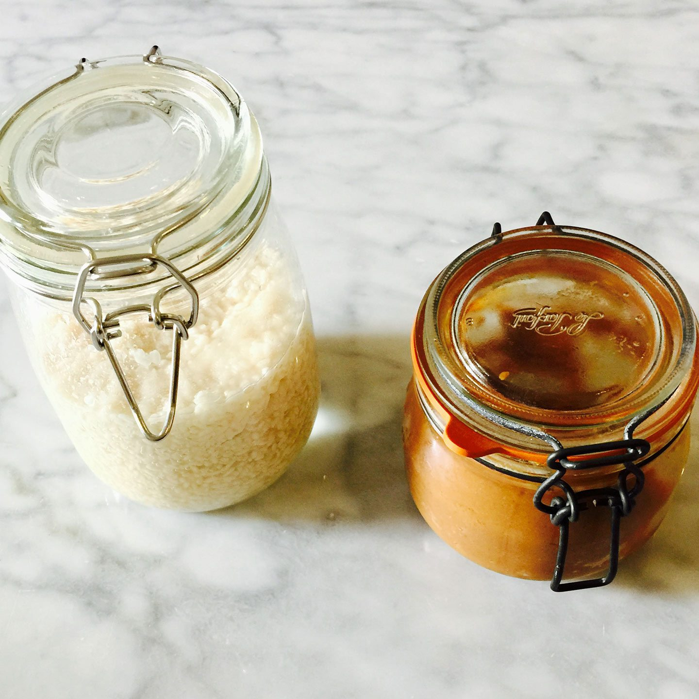 Miso jars filled with homemade Miso, a natural umami flavouring