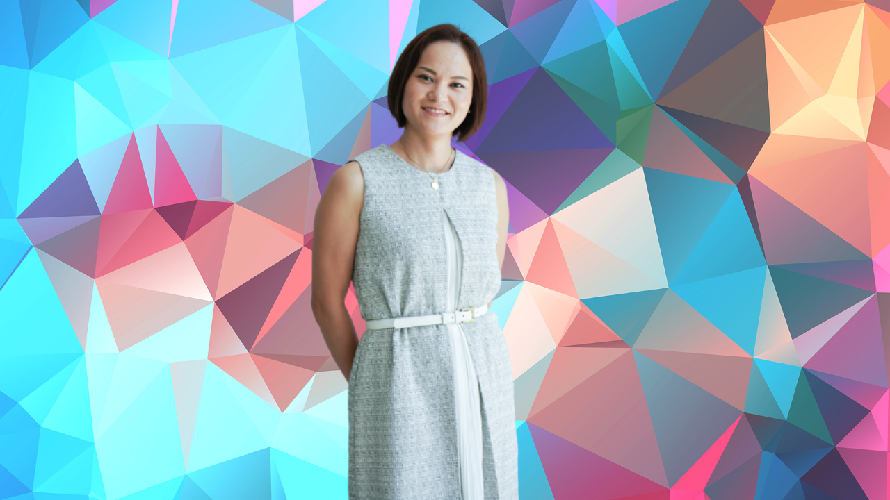Japanese Woman Standing on the colorful background