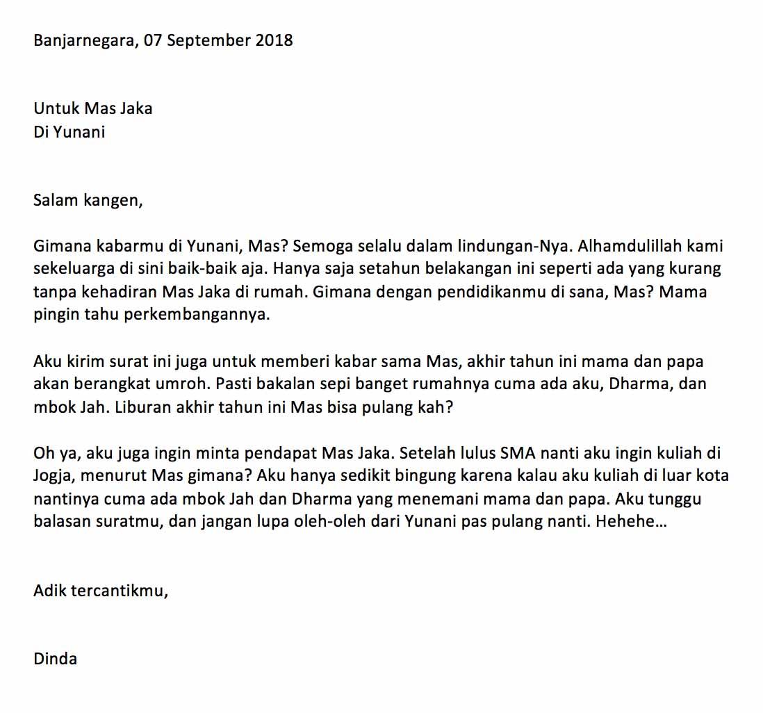Contoh Surat Pribadi Bahasa Indonesia