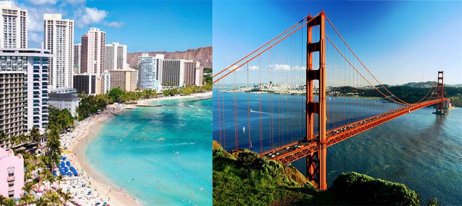 2 pour 1 !! Allez à 2 endroits pour le prix de 1: Honolulu et San Francisco de Montréal 638$