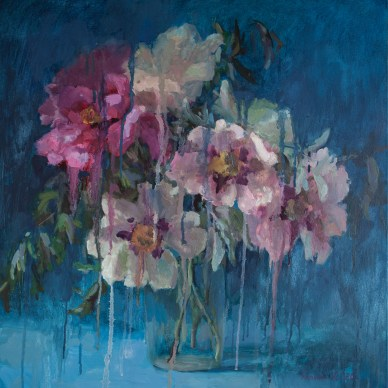 Peonies on a blue background, 60-60cm. oil on canvas.
