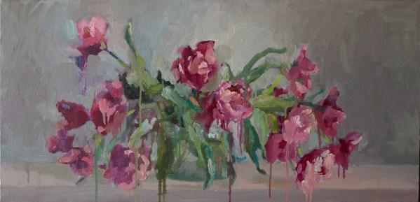 Pink tulips_oil_painting_49-99.5_cm._Yalanzhi_Yulia_2019