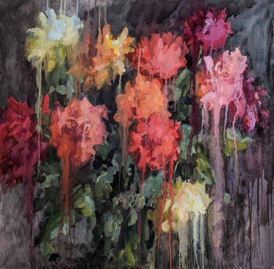 Dahlias_canvas_oil_painting_80_80cm_Yalanzhi_Yulia_2020