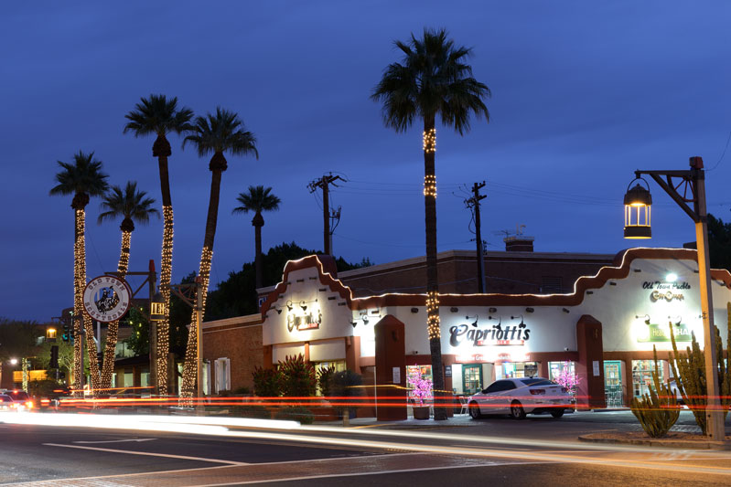 a long-exposure shot of a restaurant at night in scottsdale az