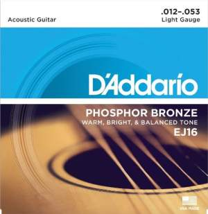 D Addario EJ16 Phosphor Bronze Light Acoustic Guitar Strings
