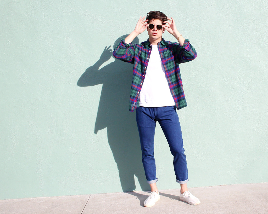 Brock, of Yummertime, in Topman jeans and Grayers flannel