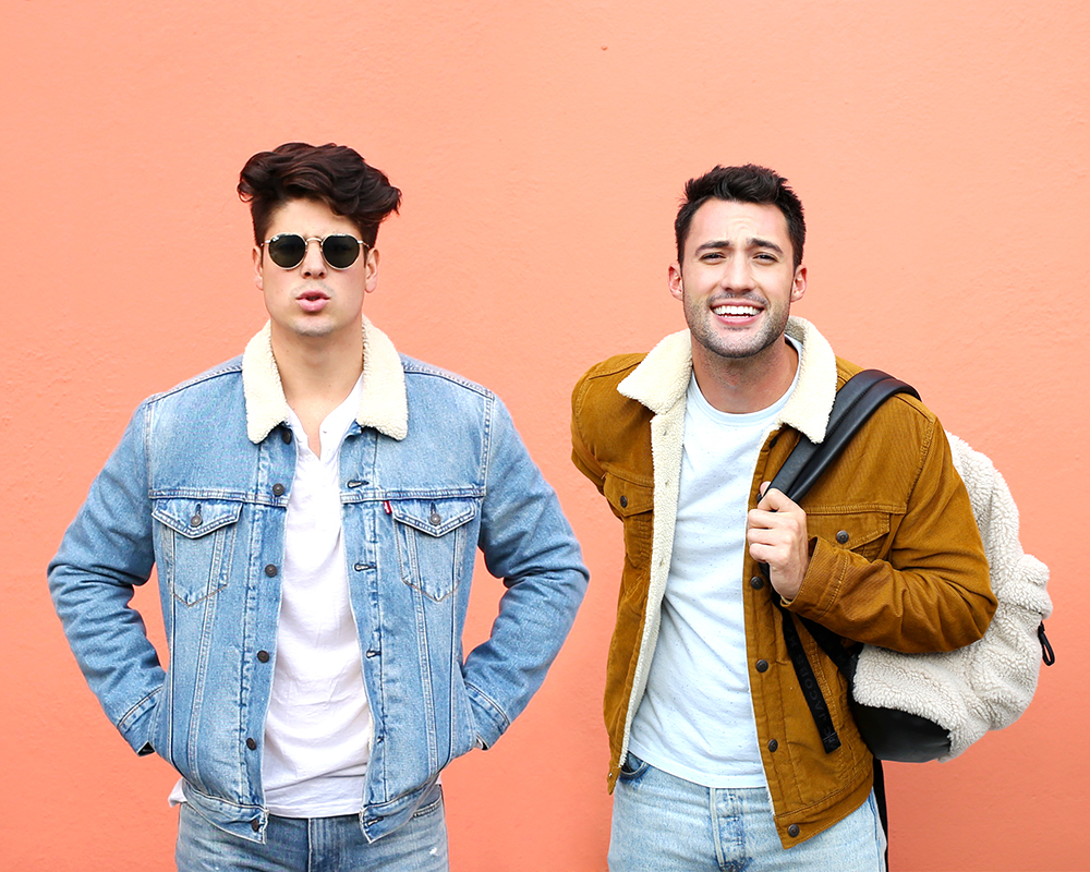 Chris and Brock, of Yummertime, wearing sherpa-lined coats for men