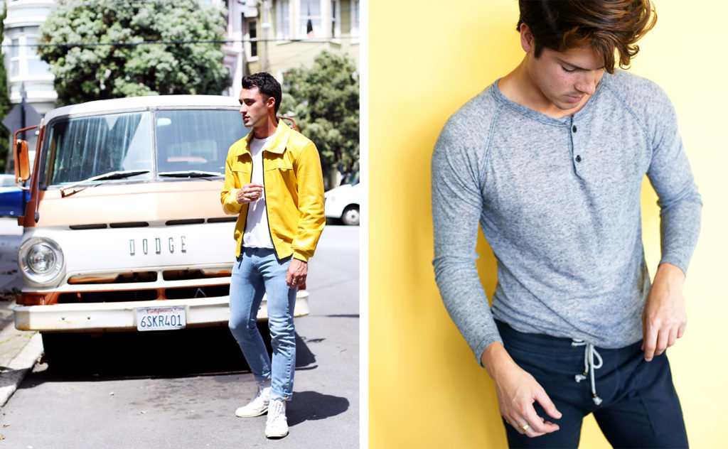 Brand to Know Mitchell Evan from Los Angeles, featuring a yellow leather bomber jacket