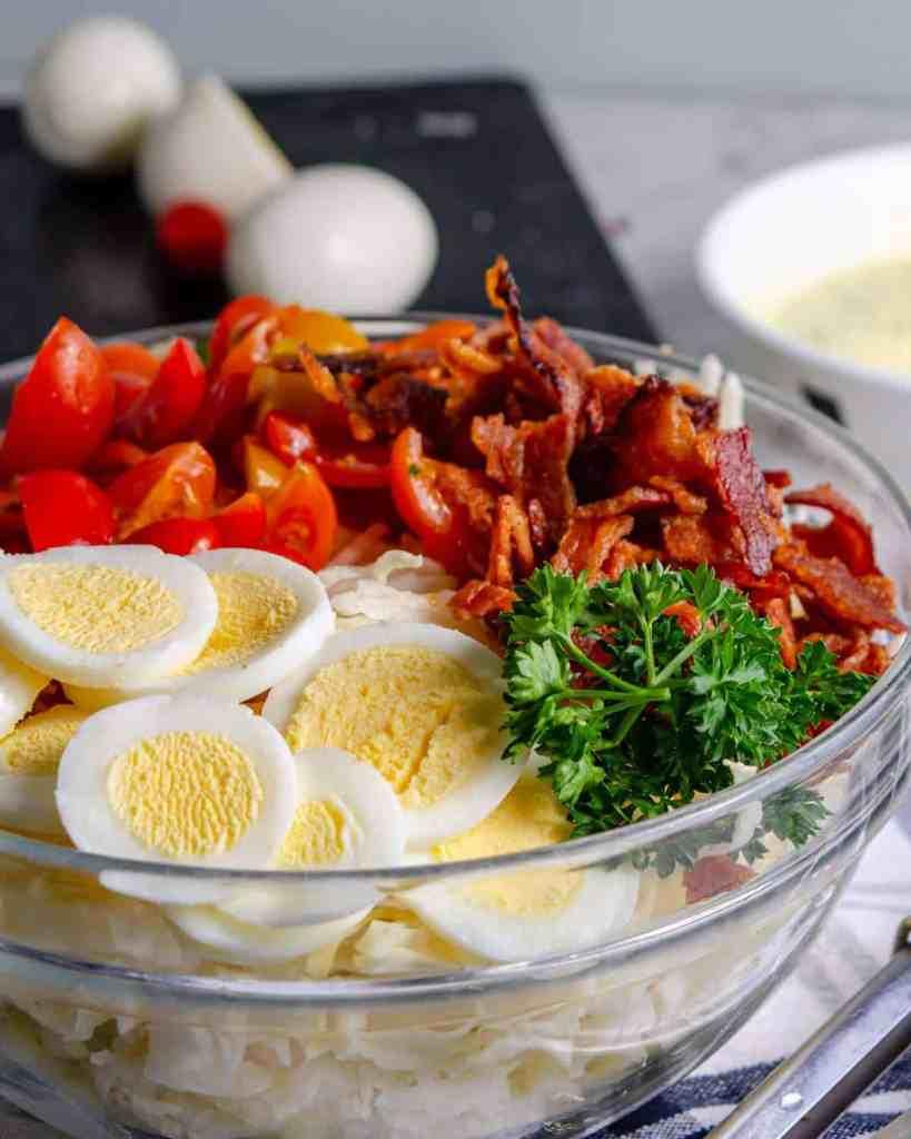 BLT Keto coleslaw ingredients in a bowl