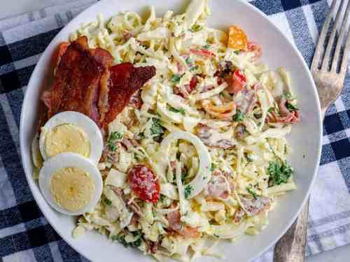 bowlful of BLT keto coleslaw