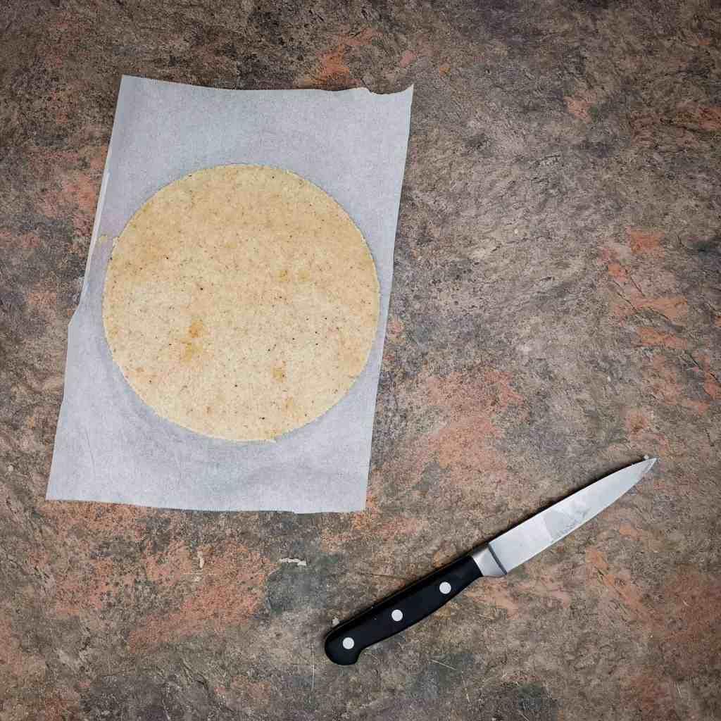 Keto tortilla dough cut to shape