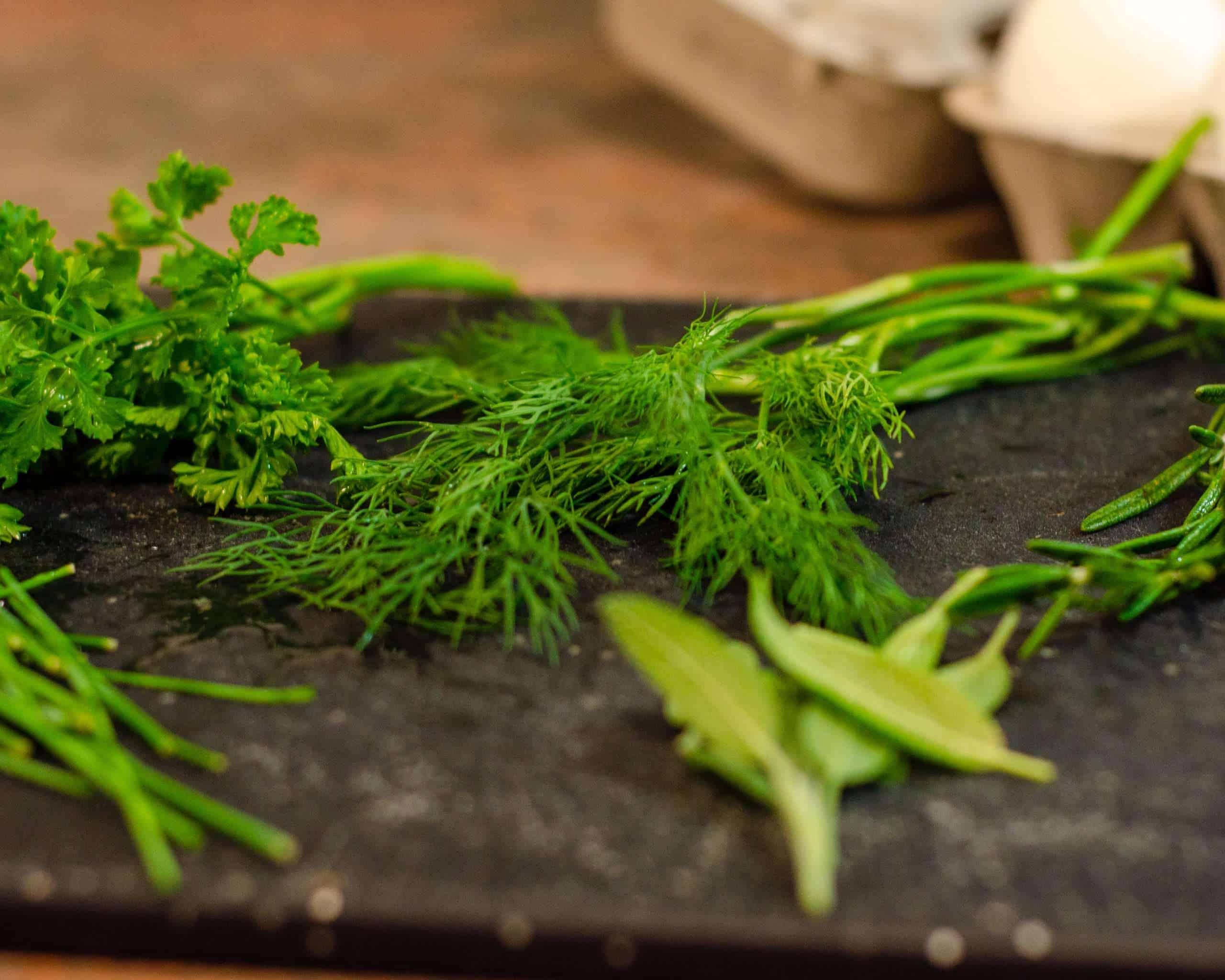 Fresh Herbs on a cutting board