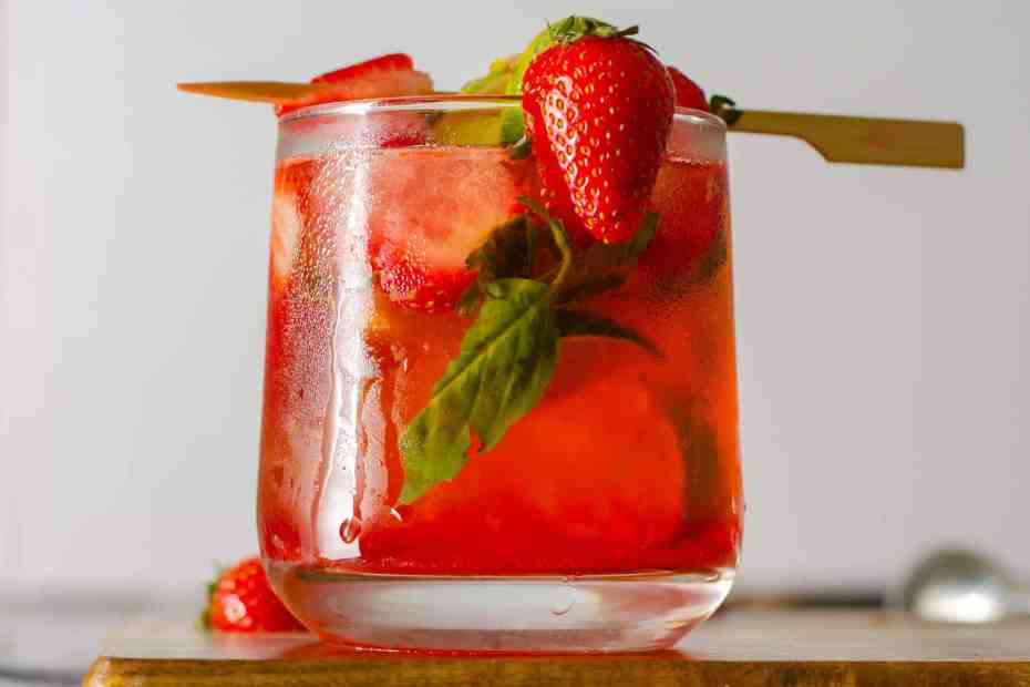 Low Carb Strawberry Basil Mojito dressed in a glass
