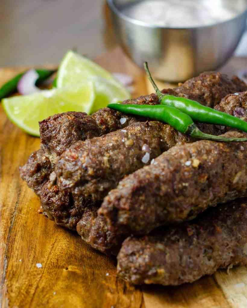 Low Carb Indian Seekh Kebab on a board