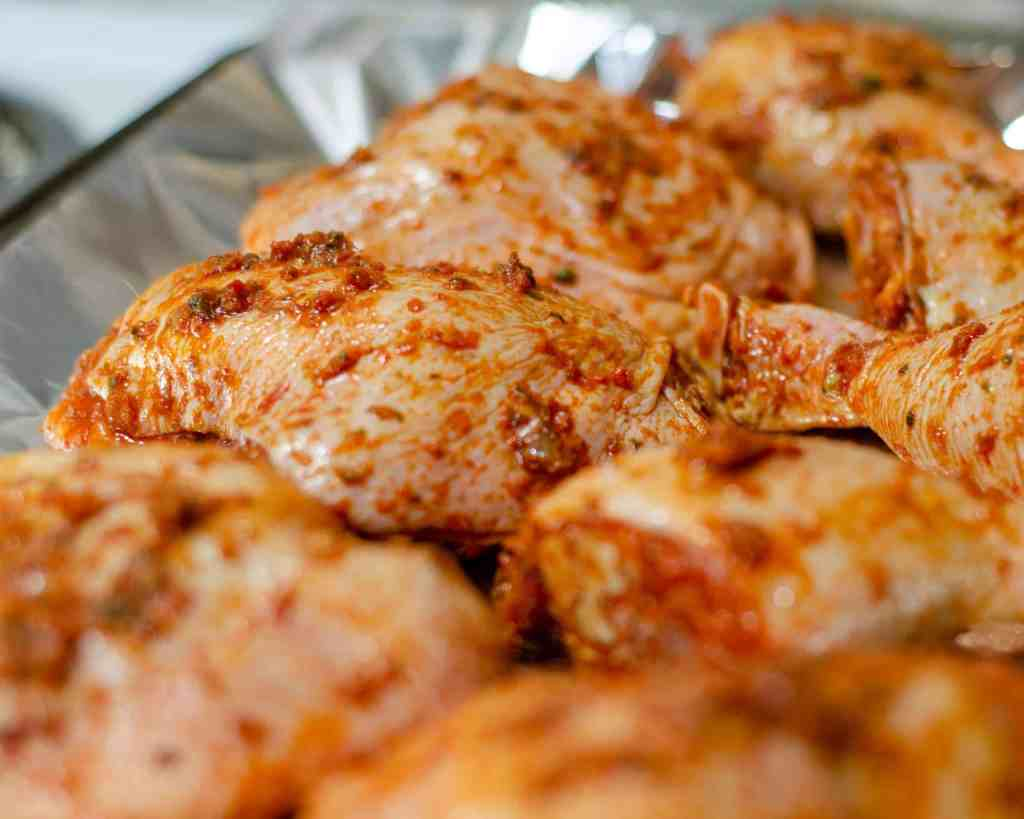 Marinated low carb peri peri chicken ready for the oven