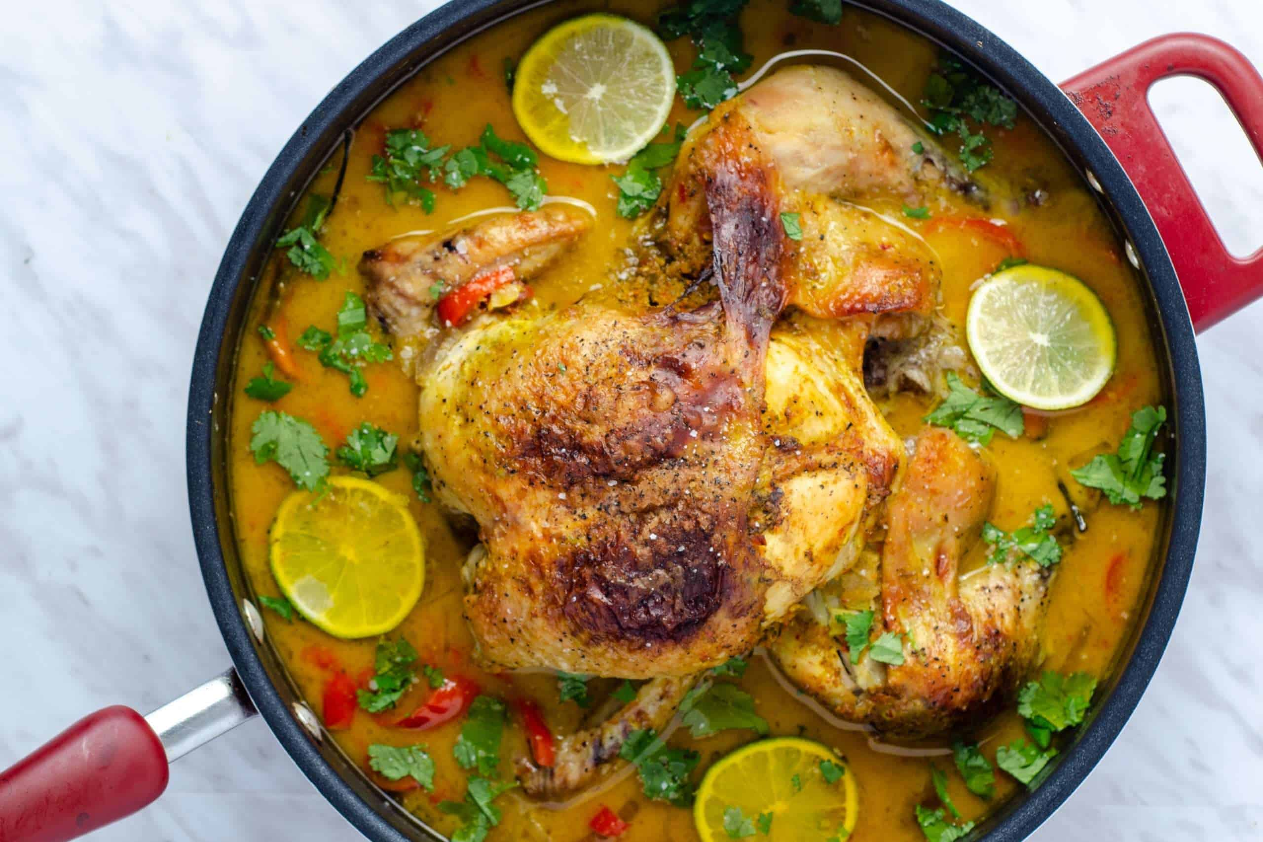Thai Coconut Milk Braised Chicken in a Large pot