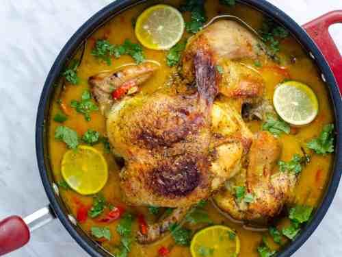 Thai Coconut Milk Braised Chicken in a Large pot