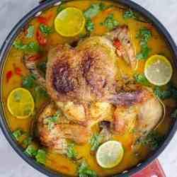 Keto Thai Coconut Milk Braised Chicken in a pan