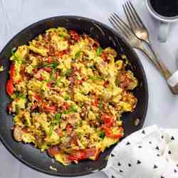 High Protein low carb scrambled eggs in a pan