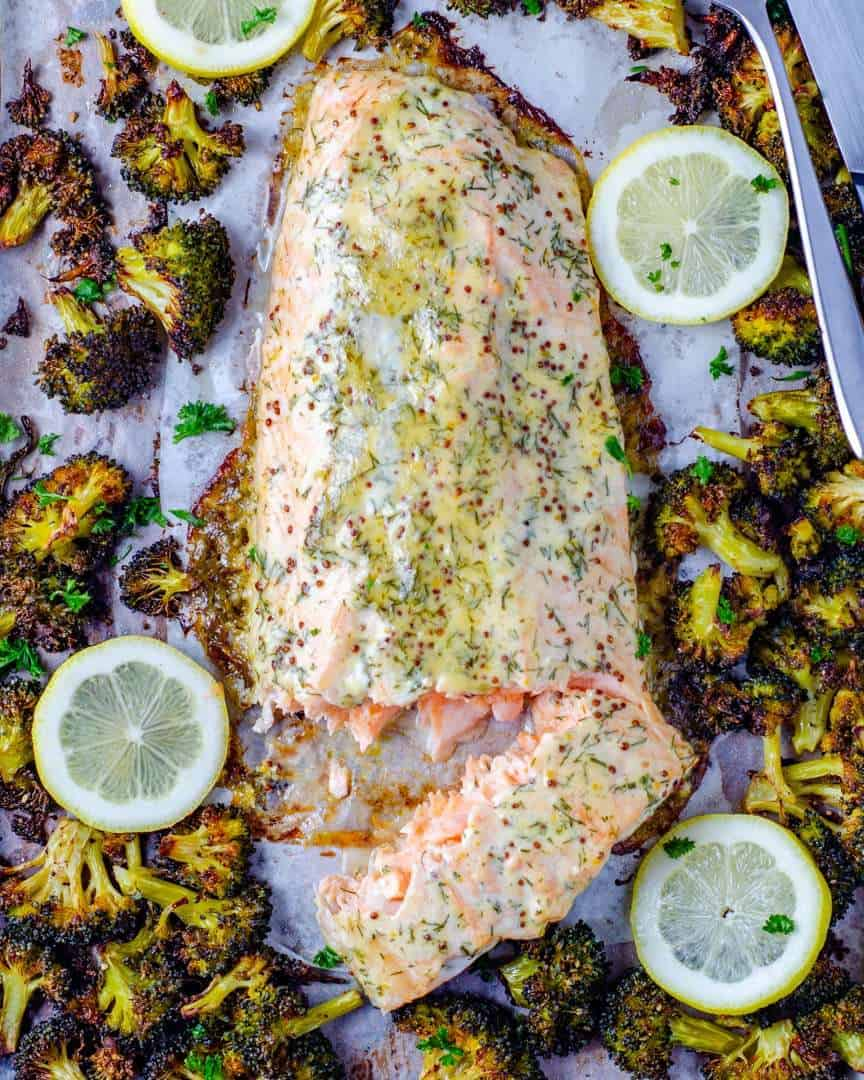 Keto sheet pan honey Dijon salmon