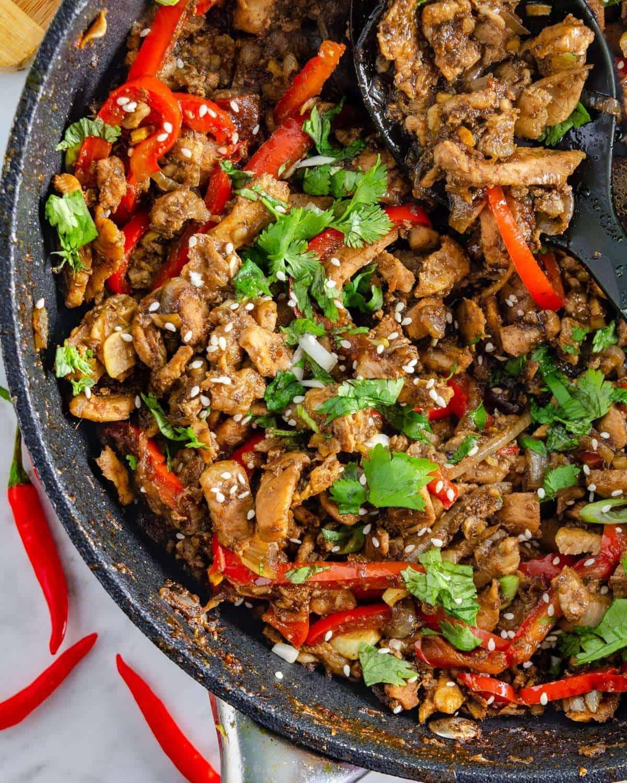 Tender keto Thai pork stir fry from above