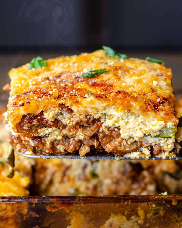 Ultimate keto lasagna, being served