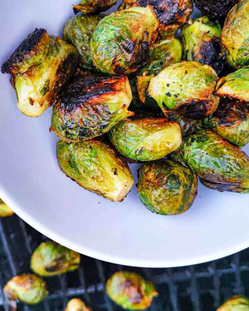 Grilled Brussels Sprouts on a plate