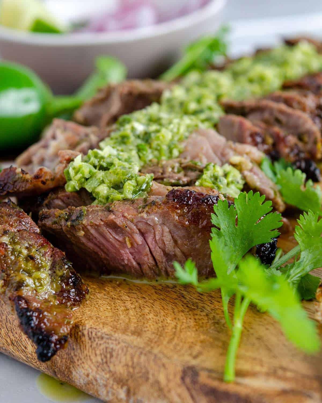 Sliced Chimichurri grilled steak