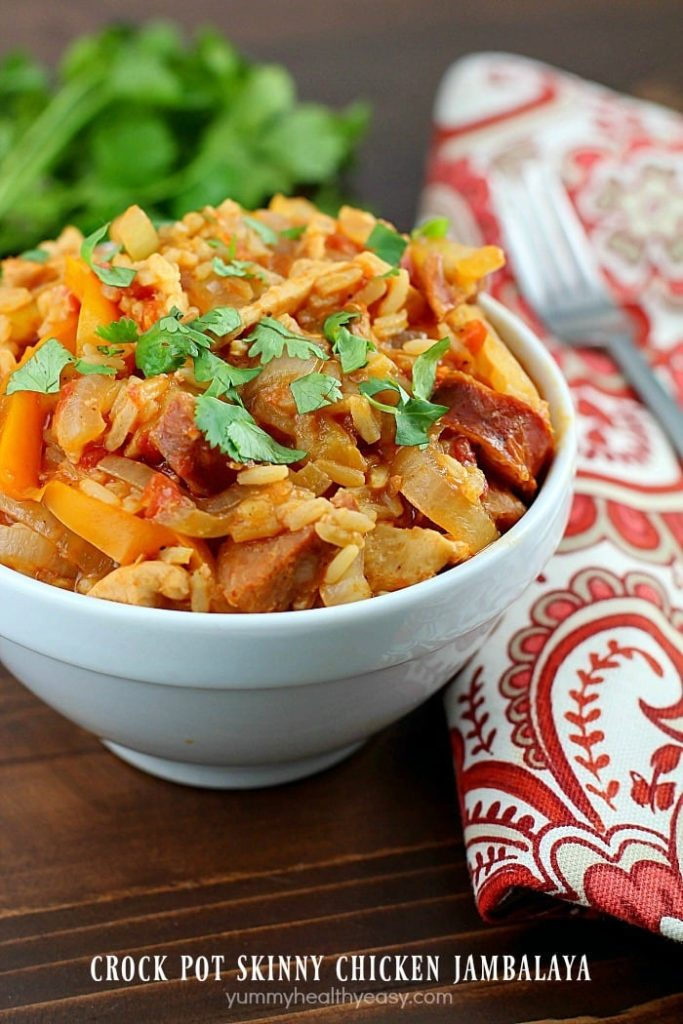 Crock Pot Skinny Chicken Jambalaya - Yummy Healthy Easy