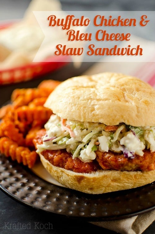 Buffalo Chicken Bleu Cheese Slaw Sandwich by The Creative Bite