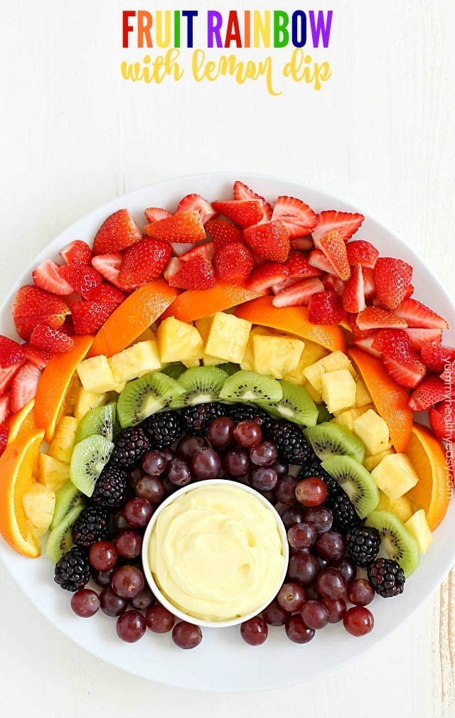 How about making a FUN Fruit Rainbow with Lemon Dip?! It will be the hit of your party! Whether you're celebrating St. Patrick's Day or just any day of the week, this is a snack everyone will enjoy! The Lemon Dip is so creamy and delicious. It goes perfectly with the fruit!
