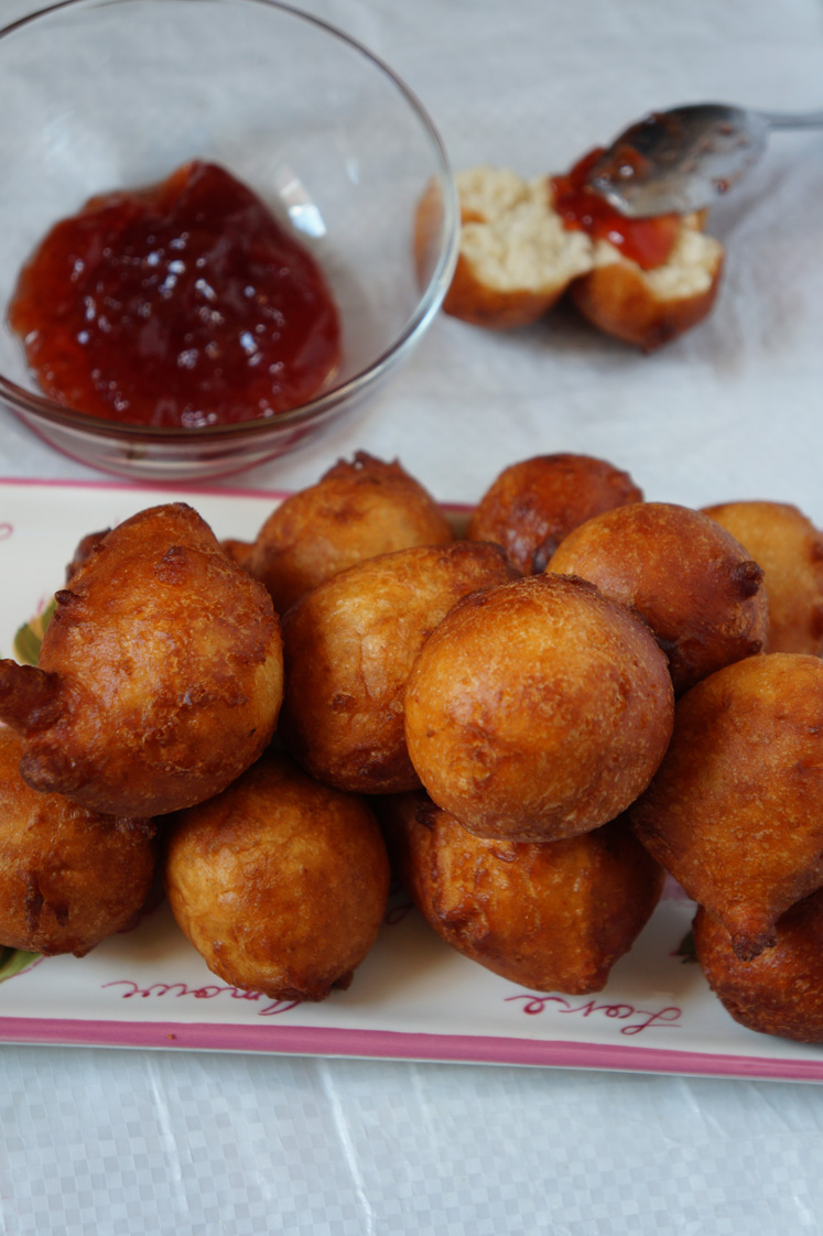 WEST AFRICAN SPICY DROP DONUTS - with a bit of jam on the side