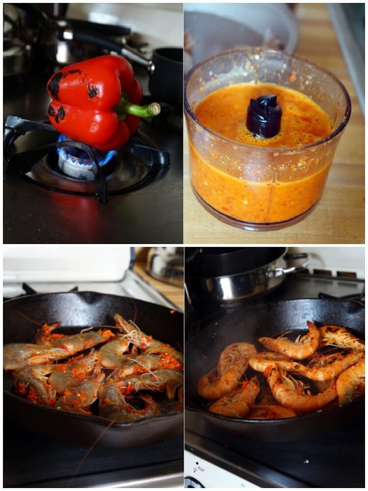 Spicy Peri Peri Prawns - Roasting the pepper and spicing the prawns