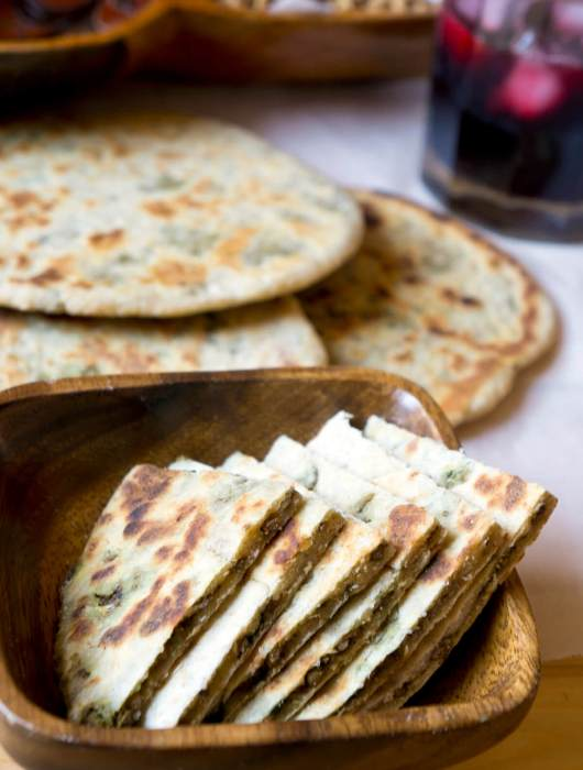 Kenyan Keema Chapatis arranged in a bowl
