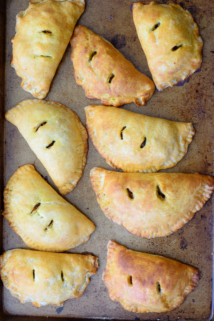 Meat pies on pan