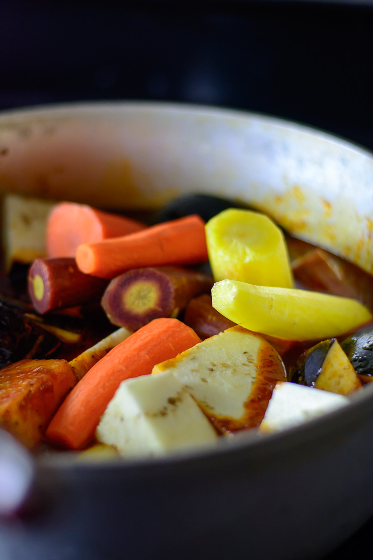 thieboudienne: Vegetables cooking in tomato sauce