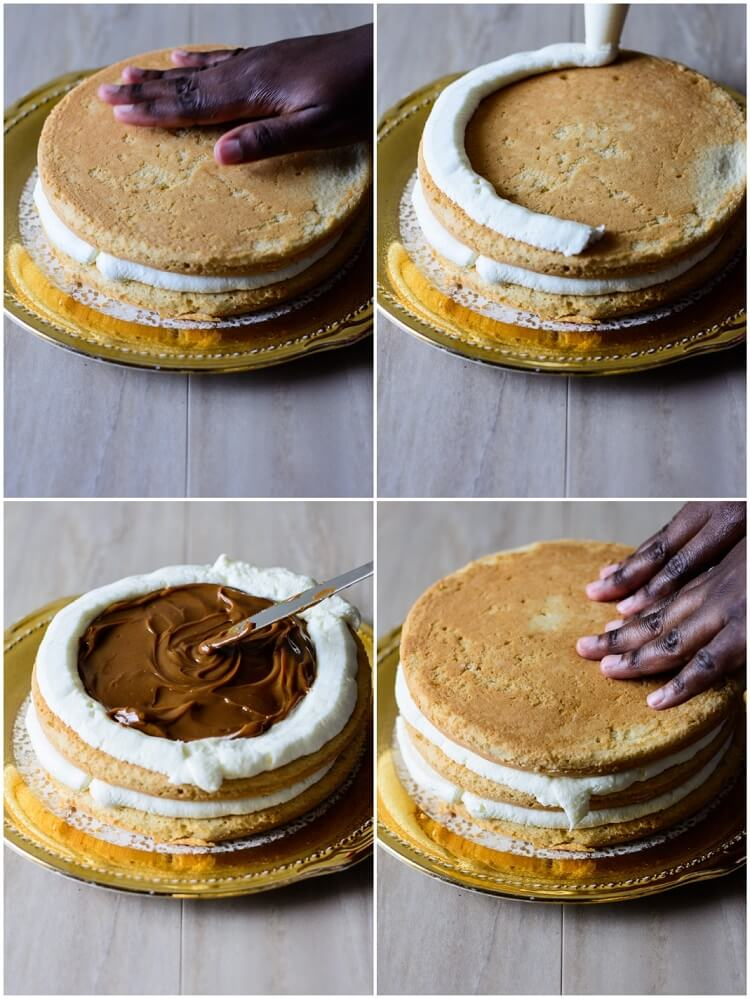 Coconut Caramel Cake: Moist and Delicious! - Preparing Second layer of cake